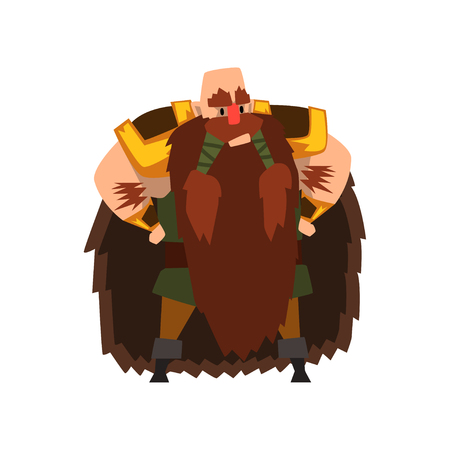 Barbarian viking character in animal skin cape vector Illustration isolated on a white background. Illusztráció