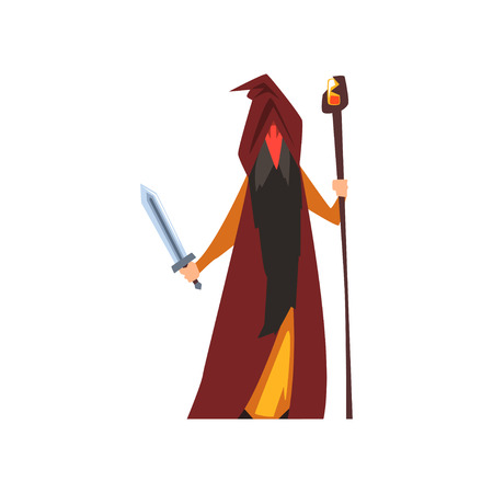 Magician wizard, fantasy magical character vector Illustration isolated on a white background.  イラスト・ベクター素材