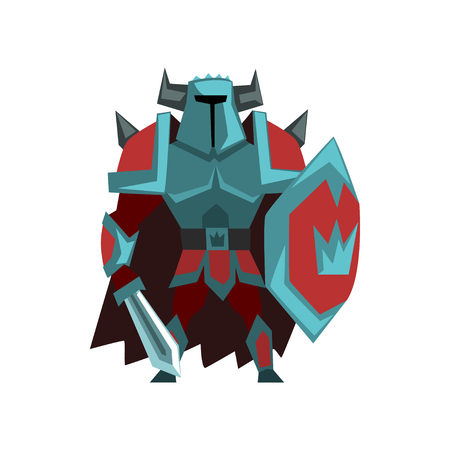 Armed powerful knight in helmet with horns and sword, fantasy creature character vector Illustration on a white background Иллюстрация