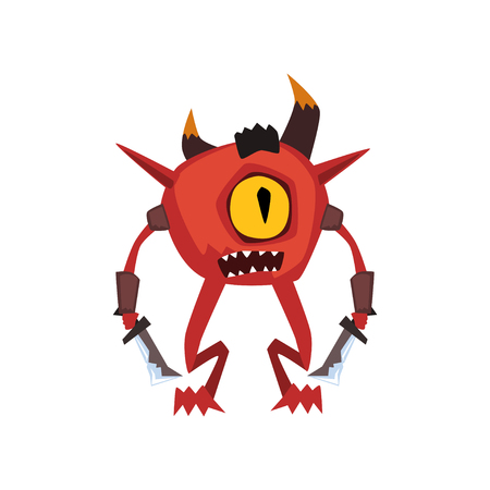 One eyed warrior monster fantasy magical creature character vector Illustration on a white background Иллюстрация