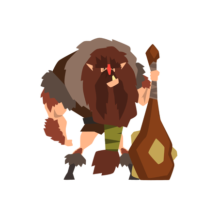 Caveman in animal skin with a cudgel, stone age character vector Illustration on a white background  イラスト・ベクター素材