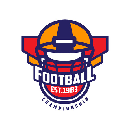 Football championship template, American football emblem est 1983, sport team insignia vector Illustration on a white background