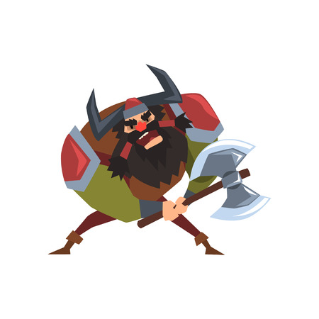 Viking warrior character in helmet with horns and battle ax vector Illustration on a white background