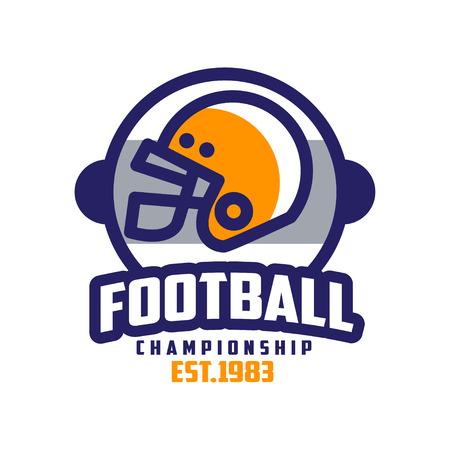 Football championship est 1983 design, American football emblem, sport team insignia vector Illustration on a white background