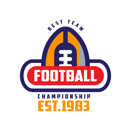 Football championship, best team est 1983 template, American football emblem, sport team insignia vector Illustration on a white background
