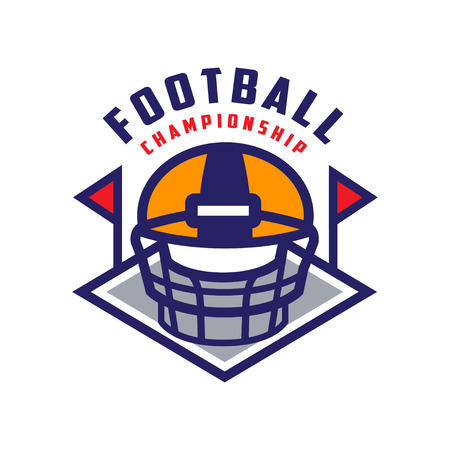 Football championship template, American football emblem, , sport team insignia vector Illustration isolated on a white background. Stock Vector - 96860900