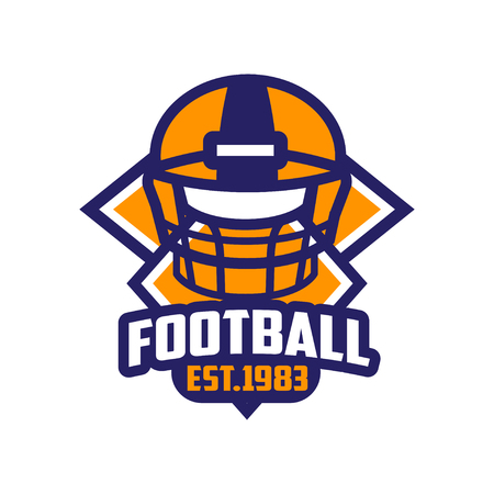 Football, est 1983 template, American football emblem in orange and blue colors, sport team insignia vector Illustration on a white background