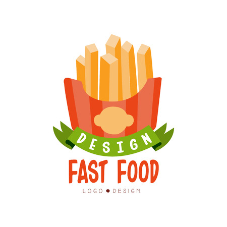 Fast food design, badge with french fries sign, fast food menu vector Illustration on a white background Ilustrace