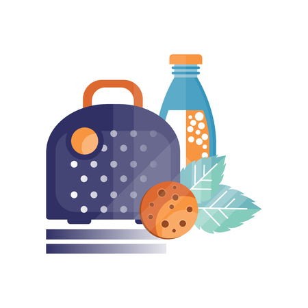 Lunch bag with cookies and bottle of juice, healthy food for kids and students, children lunch time vector Illustration on a white background Illustration