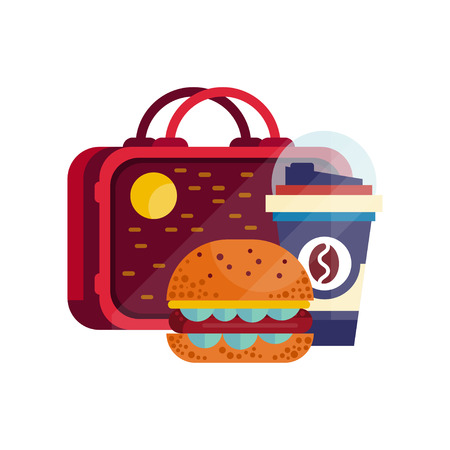 Lunch bag with hamburger and cup of coffee, healthy food for kids and students, children lunch time vector Illustration on a white background