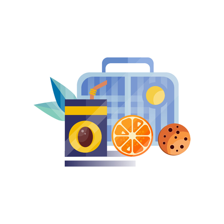 Lunch bag with cookie, juice and orange, healthy food for kids and students, children lunch time vector Illustration on a white background Illustration