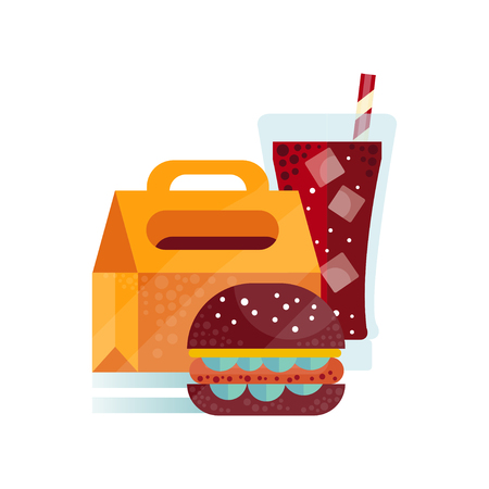 Lunch bag with burger and soda drink, healthy food for kids and students, children lunch time vector Illustration on a white background Illustration