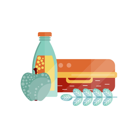 Lunch bag with apple and bottle of juice, healthy food for kids and students, children lunch time vector Illustration on a white background