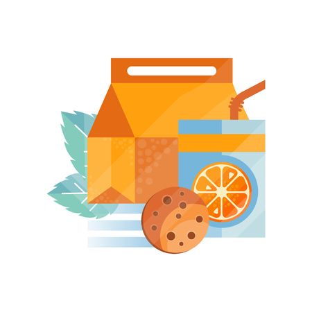 Lunch bag with cookie and orange juice , healthy food for kids and students, children lunch time vector Illustration on a white background