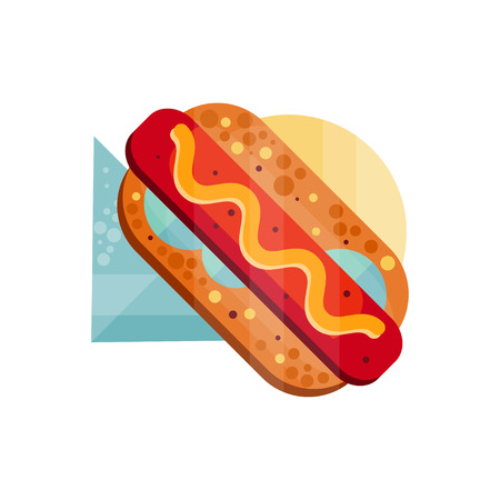 Hot dog with mustard vector Illustration on a white background Ilustração