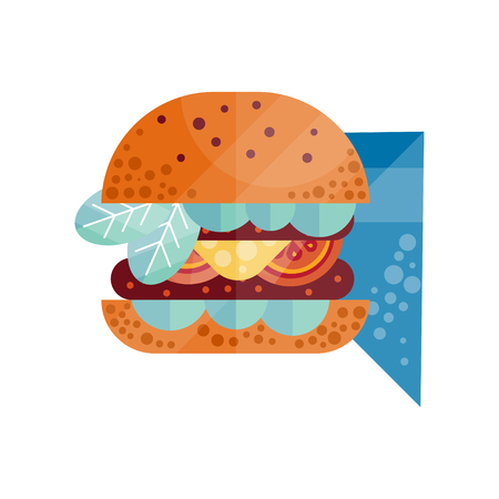 Classic burger with lettuce, tomato, onion, cheese, beef and sauce vector Illustration on a white background