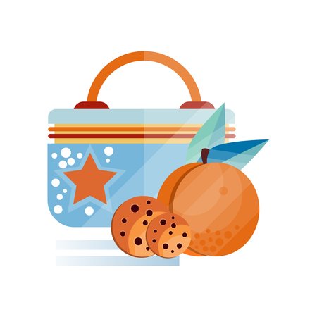 Lunch bag with chocolate cookie and peach fruit, healthy food for kids and students, children lunch time vector Illustration on a white background