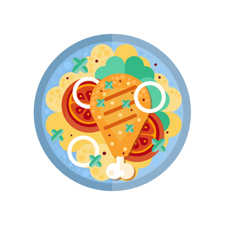 Fried chicken leg on platter with garnish vector Illustration on a white background 写真素材 - 96960425