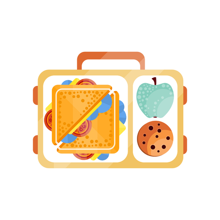 Lunch bag with sandwich, chocolate cookie and apple, healthy food for kids and students, children lunch time vector Illustration on a white background