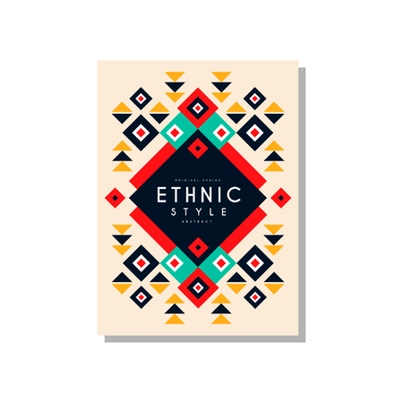 Ethnic style card template original design, ethno tribal geometric ornament, trendy pattern element for business, invitation, flyer, poster, banner vector Illustration isolated on a white background. Stock fotó - 96924890
