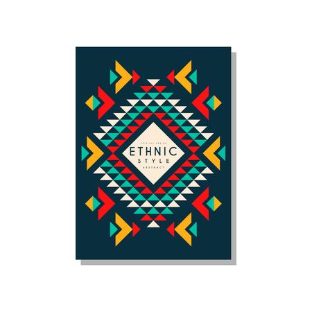 Conception abstraite de modèle de carte de style ethnique, ornement géométrique ethno tribal, élément de modèle branché pour les entreprises, invitation, flyer, affiche, vecteur de bannière Illustration isolé sur fond blanc. Banque d'images - 96925389