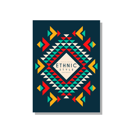 Ethnic style card template abstract design, ethno tribal geometric ornament, trendy pattern element for business, invitation, flyer, poster, banner vector Illustration isolated on a white background. Banque d'images - 96925389