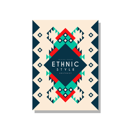 Ethnic style abstract original design, ethno tribal geometric ornament, trendy pattern element for business card, logo, invitation, flyer, poster, banner vector Illustration isolated on a white background. Banque d'images - 96927605