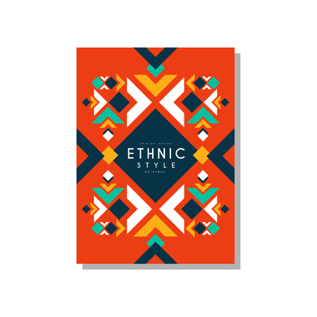 Ethnic style abstract original card, ethno tribal geometric design ornament, trendy pattern element for business card, logo, invitation, flyer, poster, banner vector Illustration isolated on a white background.