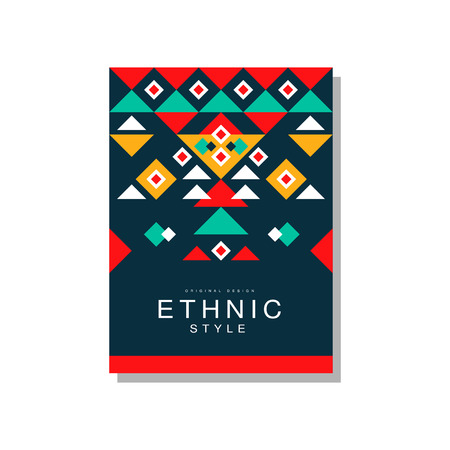 Ethnic style original design, ethno tribal geometric design ornament, trendy pattern element for business card, logo, invitation, flyer, poster, banner vector Illustration isolated on a white background. Illusztráció
