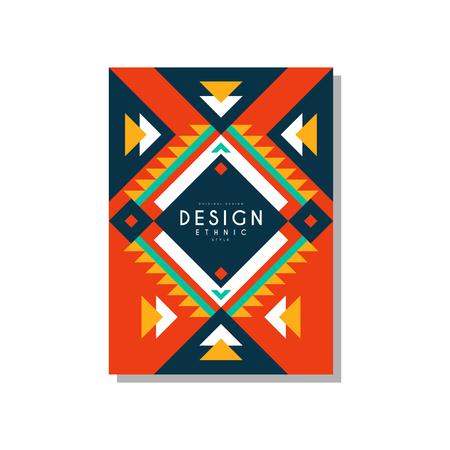 Conception de carte de style ethnique, ornement géométrique ethno tribal, élément de modèle branché pour les entreprises, invitation. Banque d'images - 96928015
