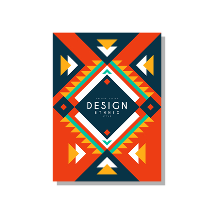 Design ethnic style card, ethno tribal geometric ornament, trendy pattern element for business, invitation.