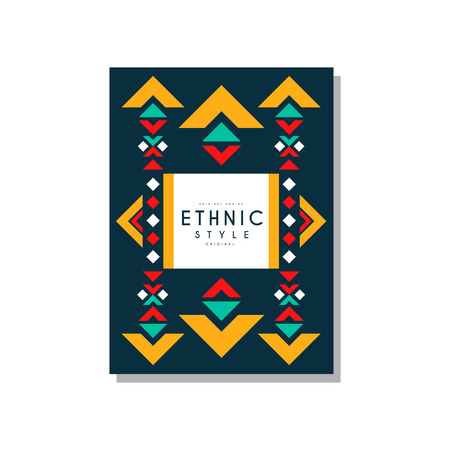 Ethnic style original design, ethno tribal geometric ornament, trendy pattern element for business card, logo. Banque d'images - 96928017