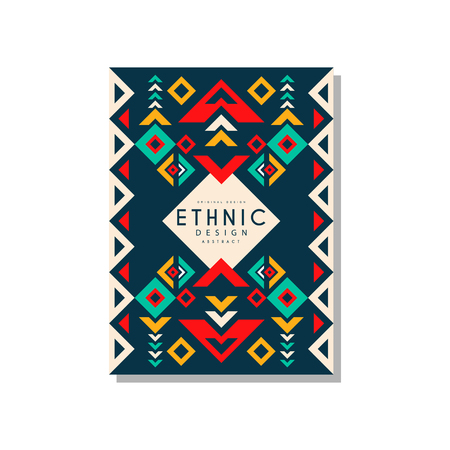 Ethnic design abstract, colorful ethnic tribal geometric ornament, trendy pattern element for business card, invitation, flyer, poster, banner vector Illustration isolated on a white background. Banque d'images - 96927140