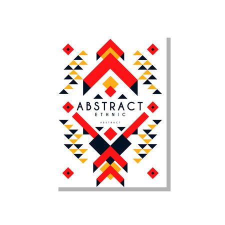 Abstrait de conception ethnique, ornement géométrique tribal ethnique coloré, élément de modèle branché pour carte de visite, invitation, flyer, affiche, vecteur de bannière Illustration isolé sur fond blanc. Banque d'images - 96927144