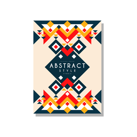 Abstrat style ethnic card temlate, colorful ethno tribal geometric ornament, trendy pattern element for business, logo, invitation, flyer, poster, banner vector Illustration isolated on a white background. Banque d'images - 96927610