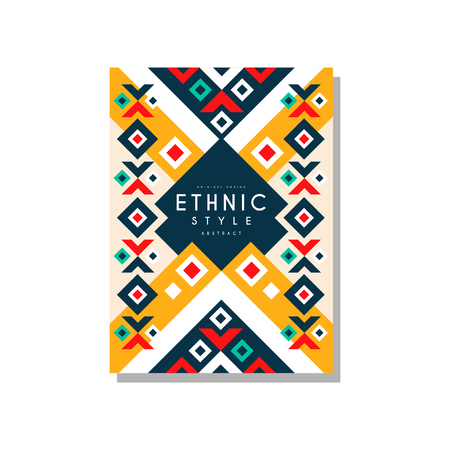 Ethnic style abstract design template, ethno tribal geometric ornament, trendy pattern element for business card, logo, invitation, flyer, poster, banner vector Illustration isolated on a white background.