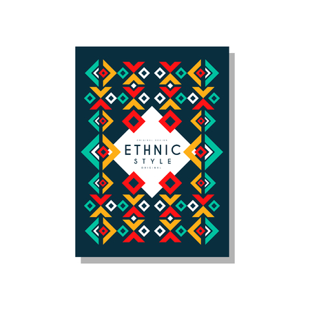 Ethnic style original, colorful ethno tribal geometric ornament, trendy pattern element for business card, logo, invitation, flyer, poster, banner vector Illustration isolated on a white background. Illusztráció