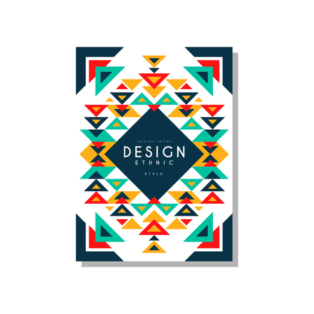 Design ethnic style card temlate, colorful ethno tribal geometric ornament, trendy pattern element for business, logo, invitation, flyer, poster, banner vector Illustration isolated on a white background. Banque d'images - 96927786