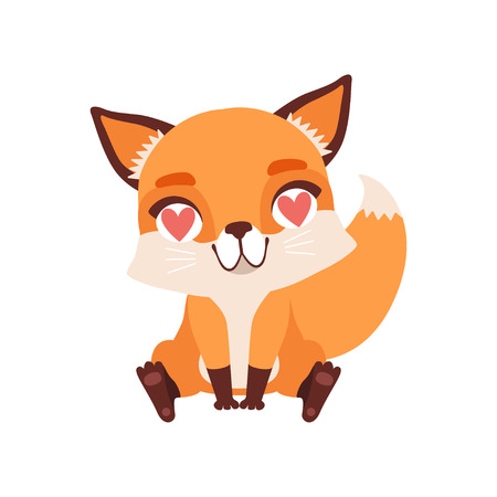Cute fox character in love with hearts in its eyes, funny forest animal vector Illustration on a white background Çizim