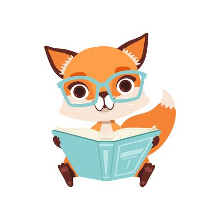 Lindo personaje inteligente zorro sentado y leyendo un libro, divertido animal del bosque ilustración vectorial sobre un fondo blanco