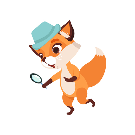 Cute fox character detective holding magnifying glass, funny forest animal vector Illustration isolated on a white background.