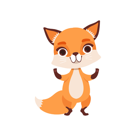 Cute fox character standing, funny forest animal vector Illustration isolated on a white background.  イラスト・ベクター素材