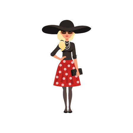 Beautiful French woman character dressed in Parisian style clothes. vector Illustration on a white background