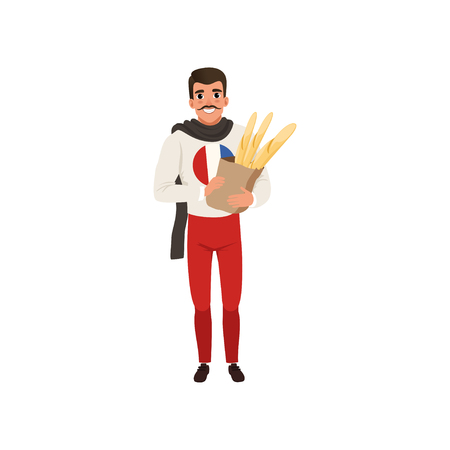 Smiling French man character dressed in traditional Parisian style holding paper bag of baguettes vector Illustration on a white background