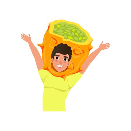 Smiling man character in kiwano fruit headwear