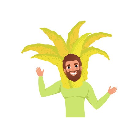 Smiling man character in fingered citron fruit headwear, vector Illustration isolated on a white background.