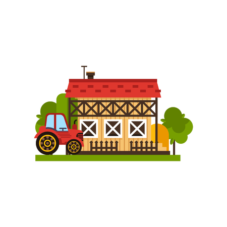Traditional farm building and tractor, countryside construction vector Illustrations on a white background