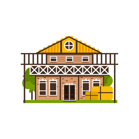 Rural house, countryside construction vector Illustrations on a white background