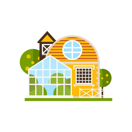 Rural cottage and greenhouse, farm buildings, countryside construction vector Illustrations on a white background