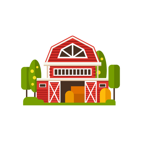 Red farm barn building, countryside construction vector Illustrations on a white background Ilustração